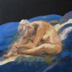 Akt kvinne, 90x90 cm, akryl og olje