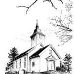 Tusjtegning av Heli kirke i Spydeberg kommune. Laget trykk i str.: 21x29,7cm og doble kort i str: 10,5x14,85cm