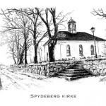 Tusjtegning av Spydeberg kirke. Laget trykk i str.: 21x29,7cm og doble kort i str: 10,5x14,85cm