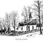 Tusjtegning av Hovin kirke i Spydeberg kommune. Laget trykk i str.: 21x29,7cm og doble kort i str: 10,5x14,85cm