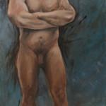 akt mann / akryl og olje (100x50 cm)