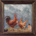 «Hanefar og tuppene», olje (ca.50x50 cm uten ramme)