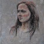 Portrett i oljepastell, 50x40 cm