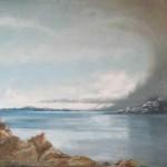 «Snøværet kommer» /Trondheimsfjorden, olje (70x90 cm)